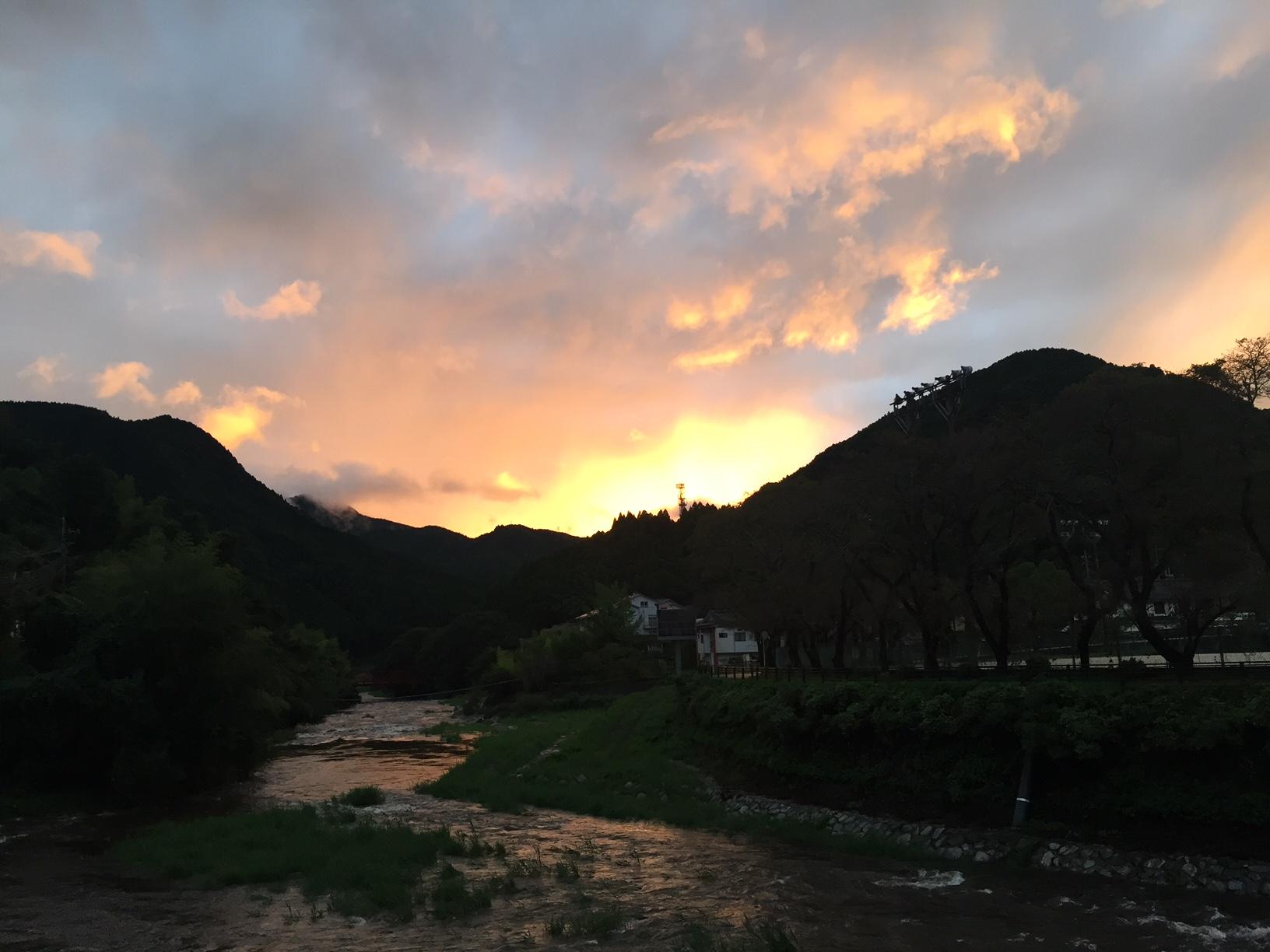 古湯温泉の夕焼け